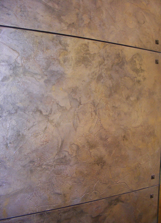 Metallic tarnished wall panel detail