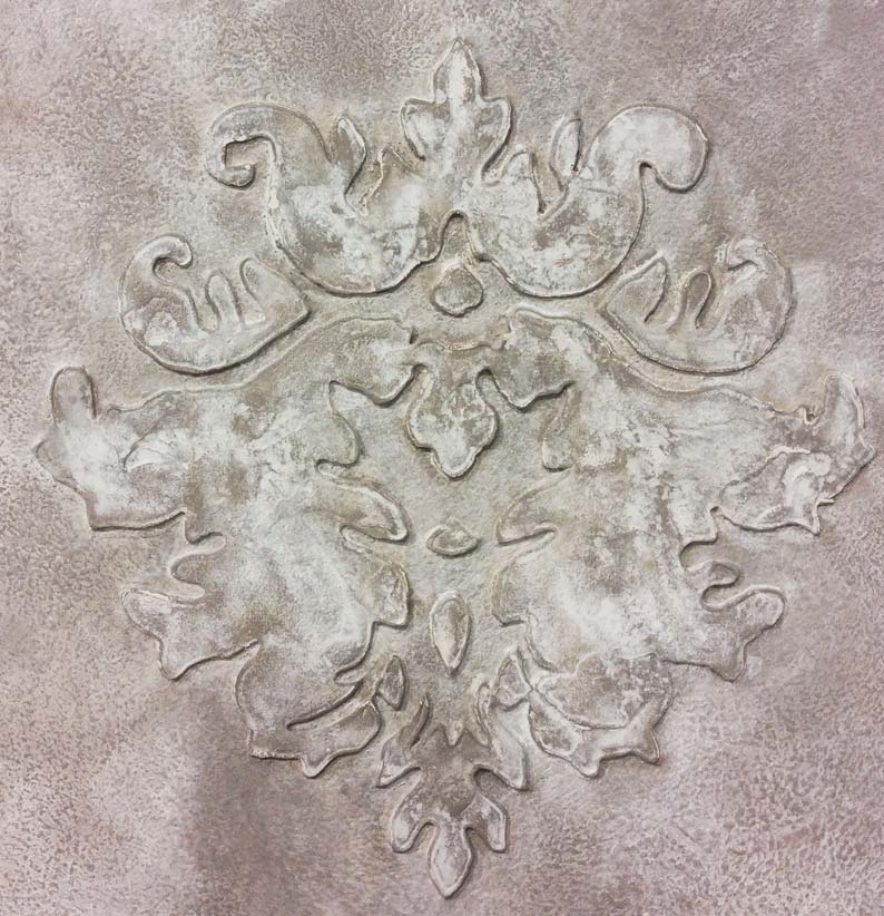 Beautiful damask concrete plaster in a stucco finish, by Devlin in Design specialist decorators UK.