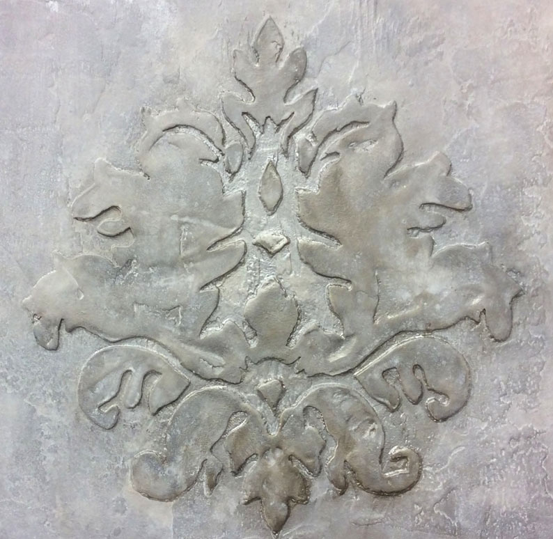 Damask stencil created using our metallic venetian plaster for a private client.