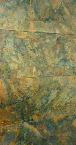 Metal wall panels, aged metal, distressed metal, decorative metallic walls.