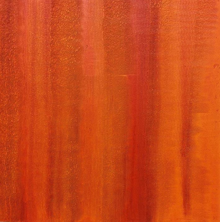 Orange venetian plaster created for a nightclub in Paris, France