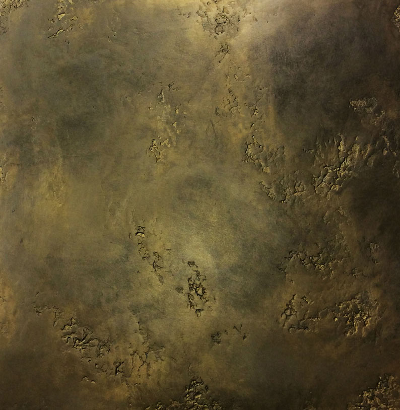Brass venetian plaster and gold stucco plaster.