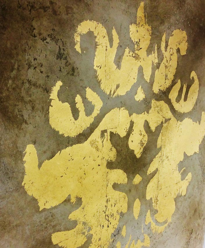 Distressed wall aged and gilded in 24ct gold for a private client in Belfast, Northern Ireland.