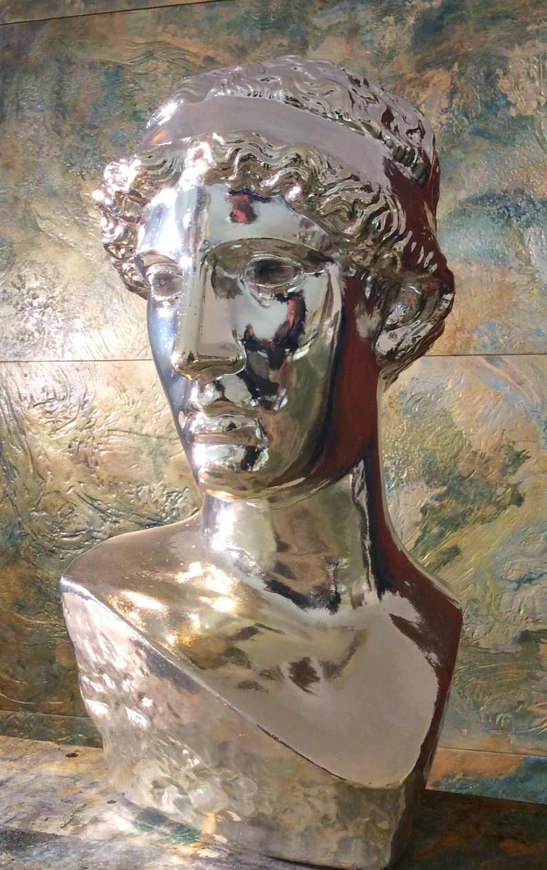 Chrome bust created and finished by Devlin In Design.