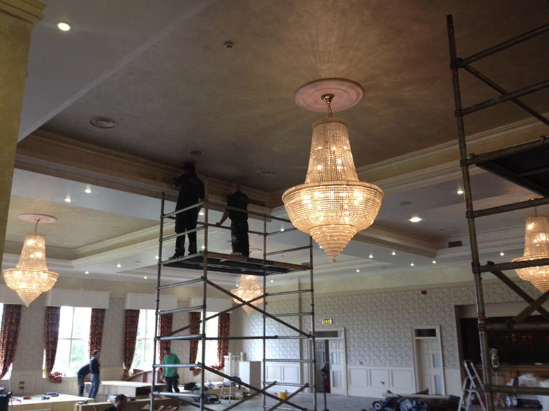 Ceiling moulds application at Corick House Hotel.