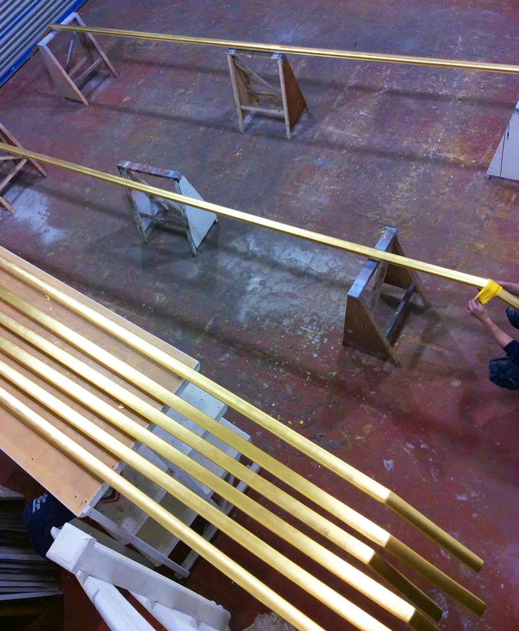 Aluminium handrails gilded in 24ct gold for the Sultan of Brunei by our team of expert gilders.