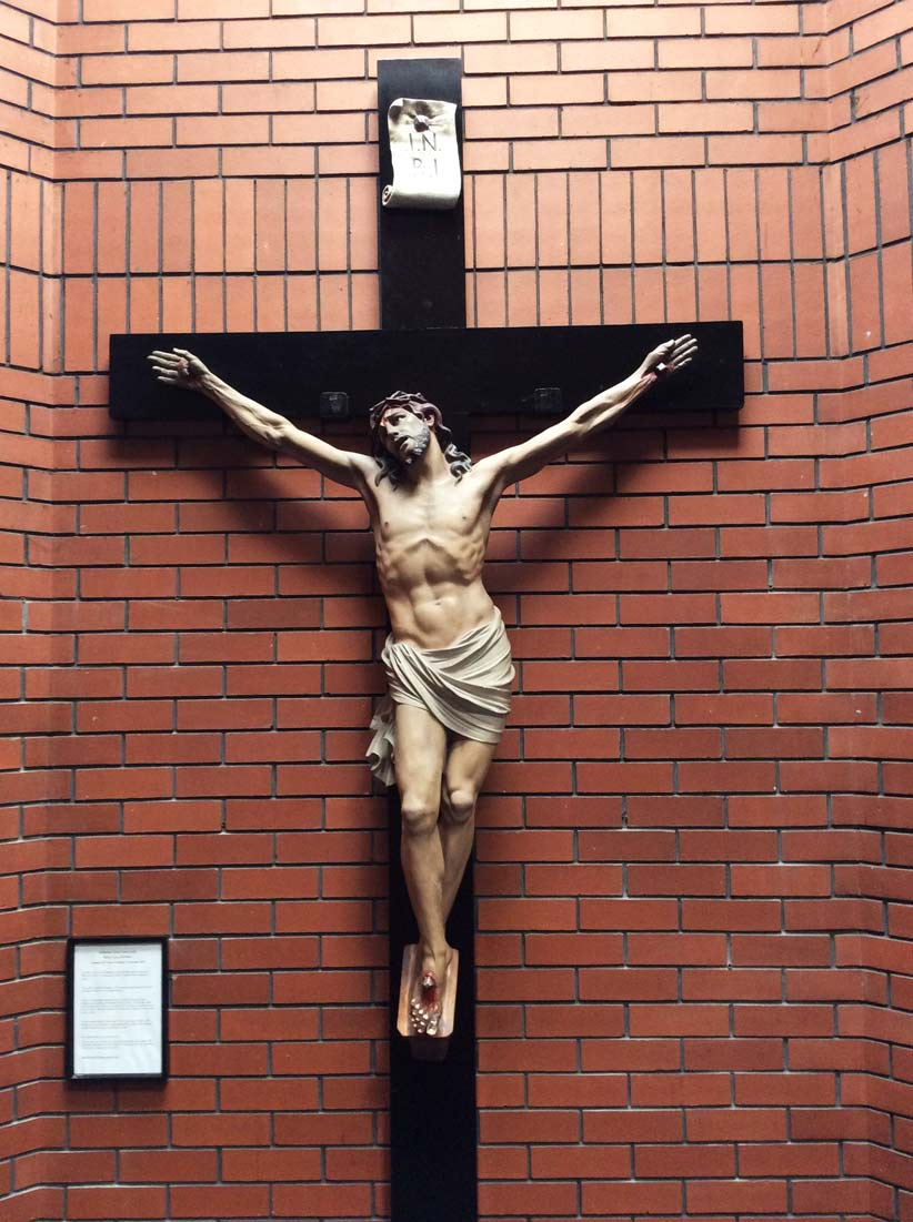 Saint Mother Teresa's restored crucifix carried out by Devlin In Design's sculptors and master specialist decorators.