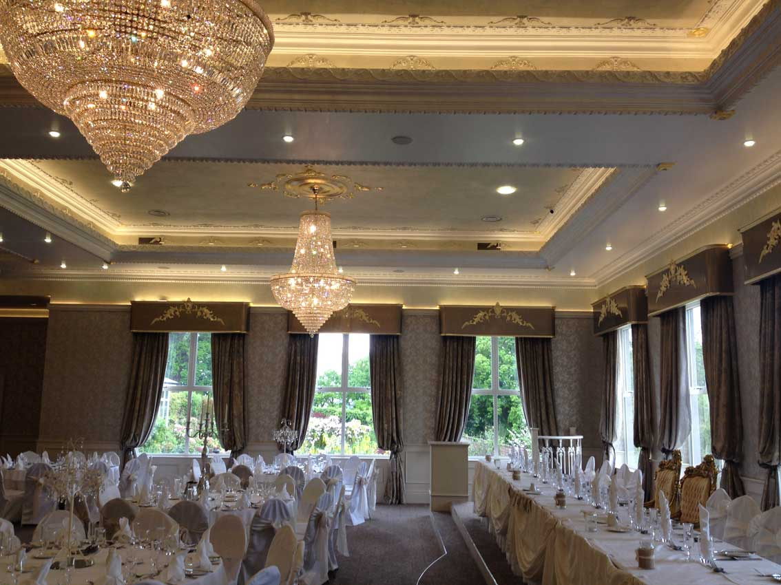 Corick House Hotel and wedding venue ornate ceiling and pelmets designed and created by Devlin In Design.
