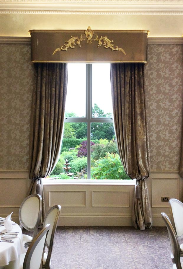 The pelmets for Corick House Hotel were designed, constructed, gilded and sprayed by our team of specialist decorators, decorative painters and carpenters at Devlin In Design.