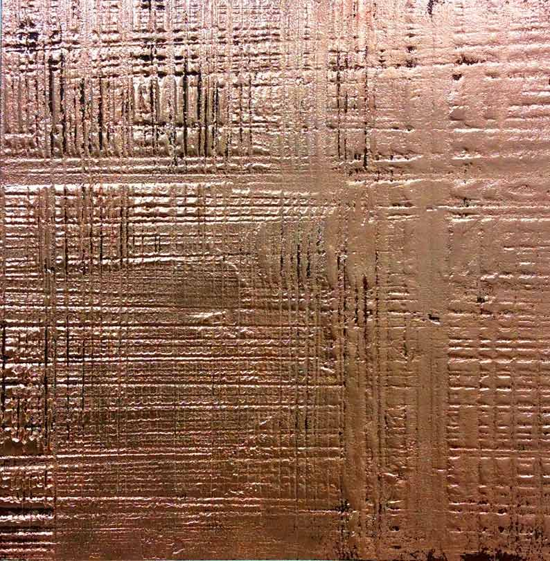 Bespoke textured copper reflective wall finish