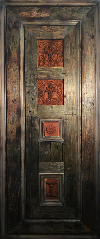 Aged wooden and distressed wall panel for restaurant interior Glasgow, Scotland.