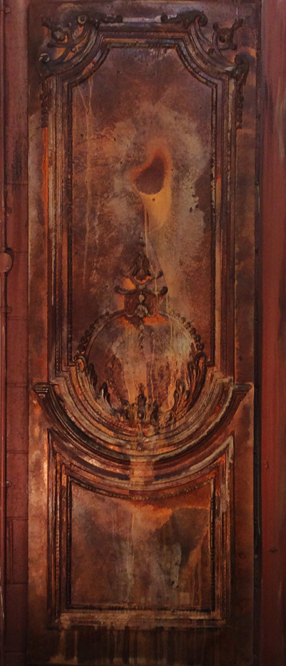 Rusted decorative wall panel for restaurant interior in London, England.