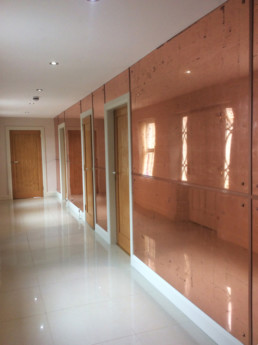 Antiqued and distressed copper mirrored glass, verre eglomise, Specialist Decorating UK