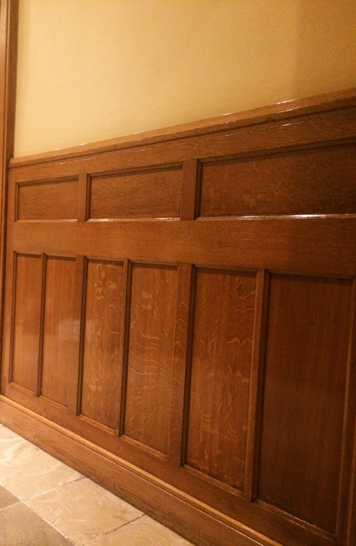 French Polished Oak Wall Panelling in the Clarence Hotel, Dublin, Ireland.