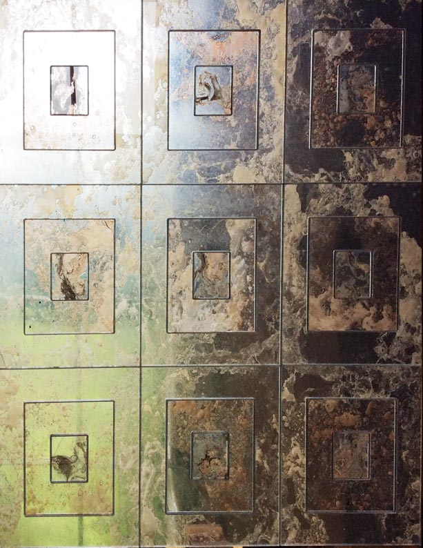 Hand crafted antique mirror wall panels designed and manufactured for hotel entrance wall by Devlin In Design. Shatterproof