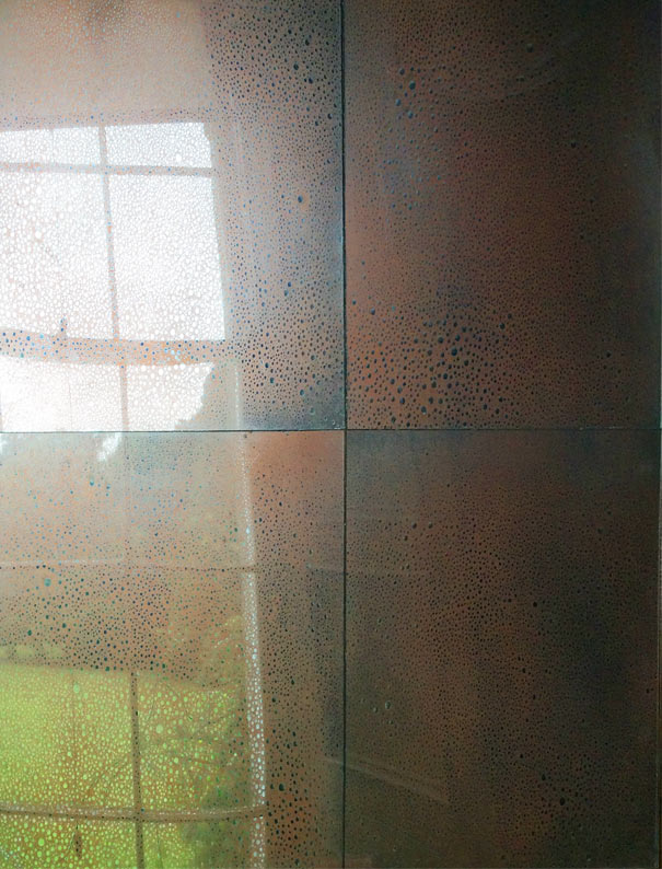 Antique mirror glass wall panels. Copper raindrops designed, manufactured and created by Devlin In Design.
