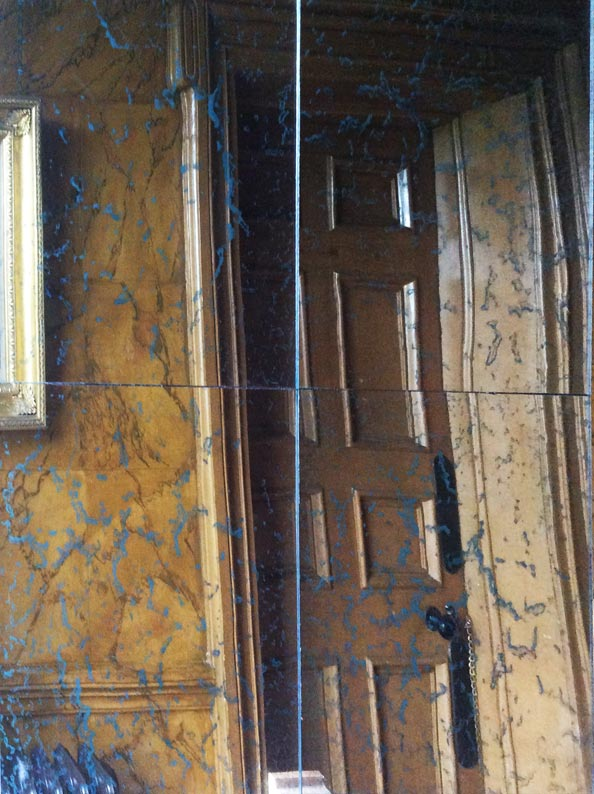 Antique mirror glass wall panels created, designed and fitted for hotel corridor.