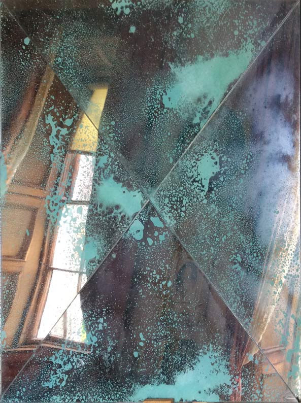 Antique mirror wall panels triangular cut verdigris style created and fitted by Devlin In Design.