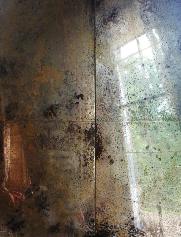 Gold and rust distressed mirror panels designed, created and fitted by Devlin In Design