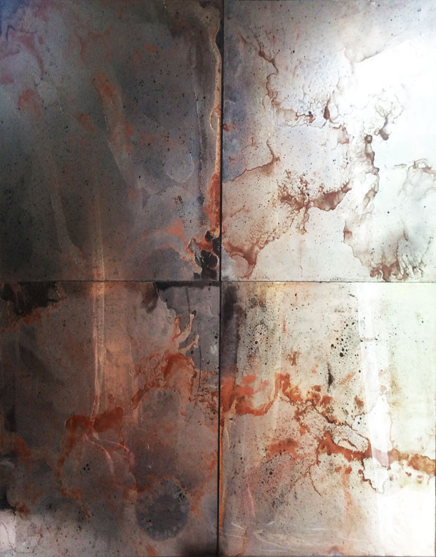 Vintage copper mirror wall tiles square cut for vip suite.