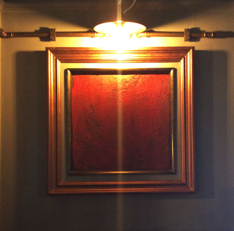 Copper and brass framed artwork manufactured and fitted by Devlin In Design.