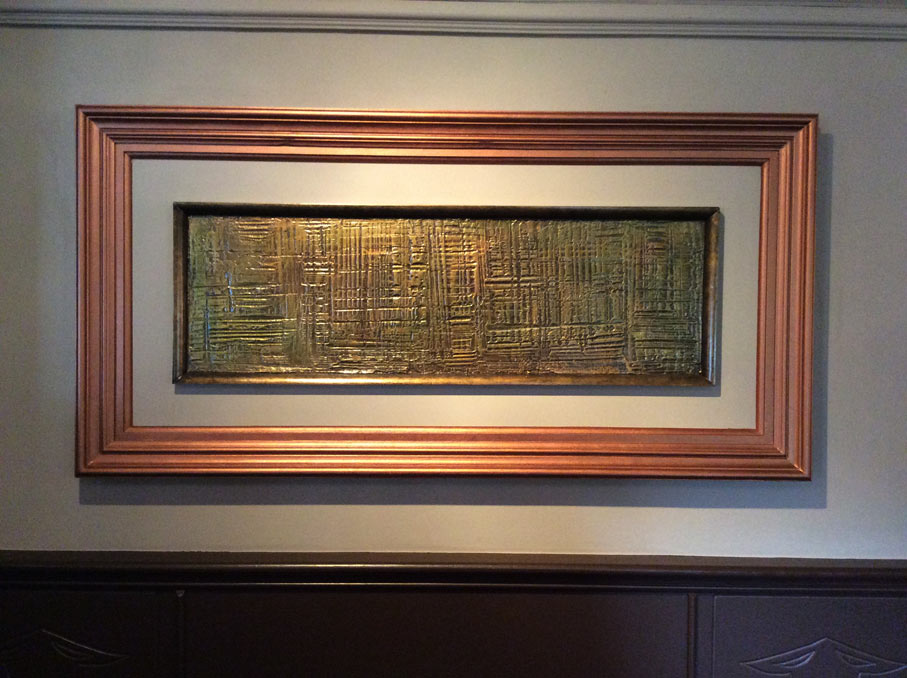 Antique copper framework and internal artwork designed and manufactured for the Brewers House Restaurant walls.
