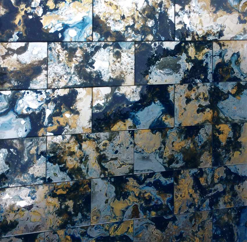 Sapphire and gold antique mirror glass wall tiles.