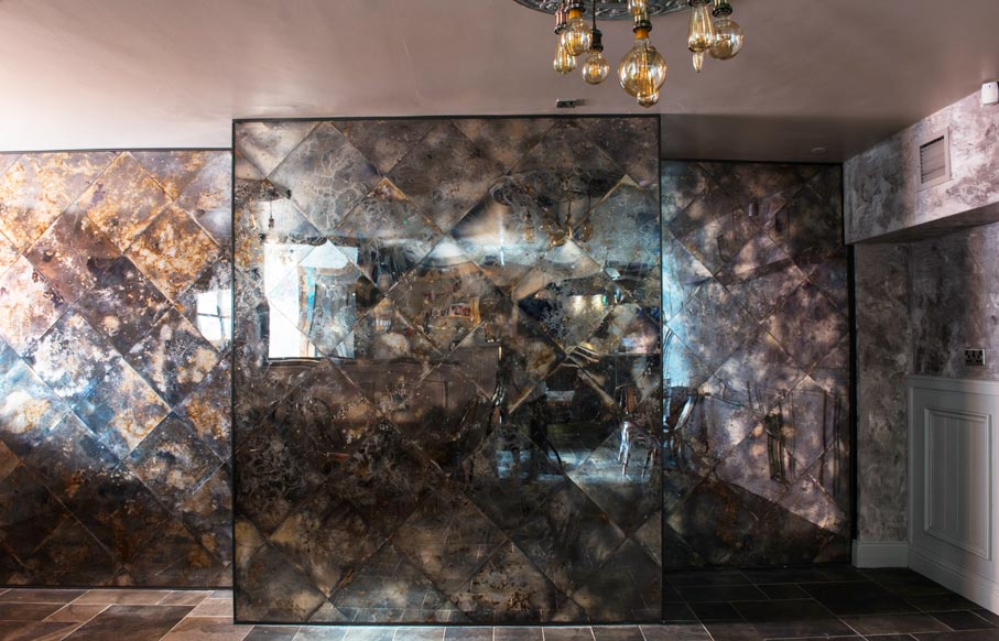 Antique mirror glass wall panels for restaurant interior