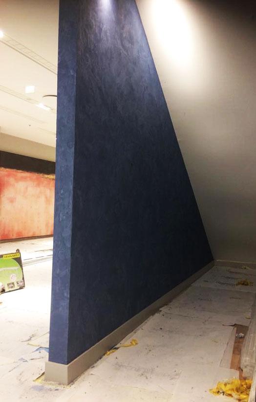 Stucco plaster preparation for shop interior Düsseldorf, Germany