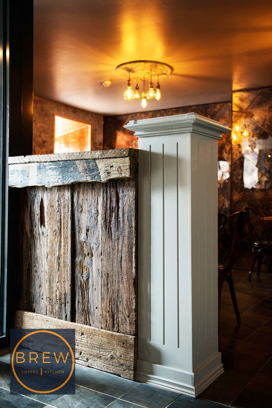 Wooden column with aged and distressed wooden panel, BREW, Northern Ireland.