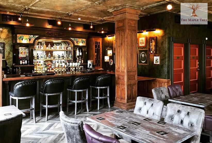 Distressed ceiling with aged faux finish, bar and restaurant interior, Ireland
