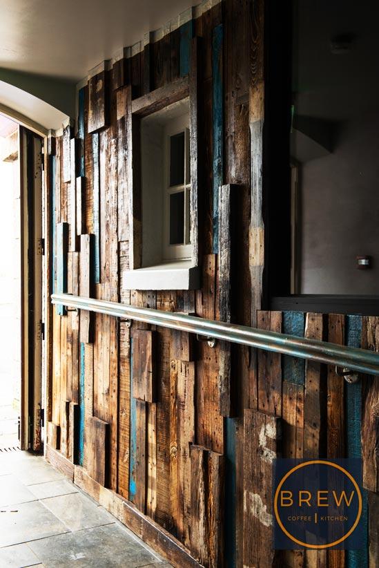 Wooden feature wall restaurant entrance, BREW, Northern Ireland.