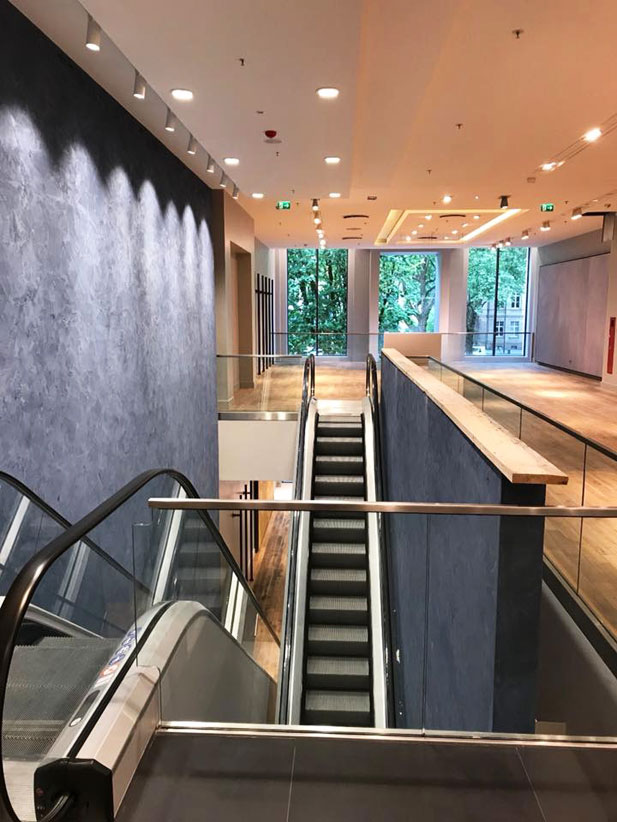 Stucco wall finishes for shop interior Düsseldorf, Germany