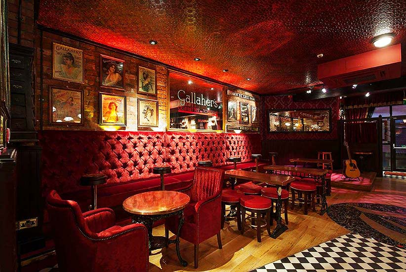 Distressed ceiling and red leather faux finish, Harp Bar Belfast