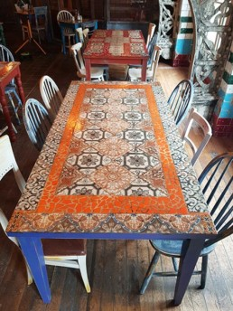 tiled mosaic table, aged furniture, mosaic, Spanish style mosaic, mosaics