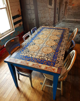 Stucco UK, tile mosaic tables, old tiled walls, vintage walls