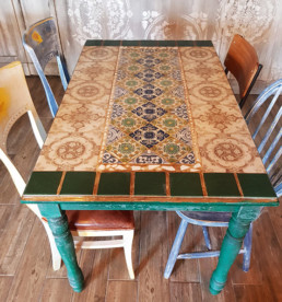 Distressed furniture Ireland, mosaic table tops u.k, polished plaster