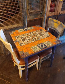 mosaic table, tiled mosaic, distressed furniture, decorative surface finishes London