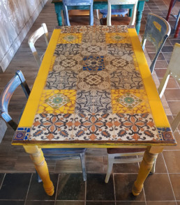 tiled mosaic table, distressed furniture, tapas mosaic, Spanish style mosaic